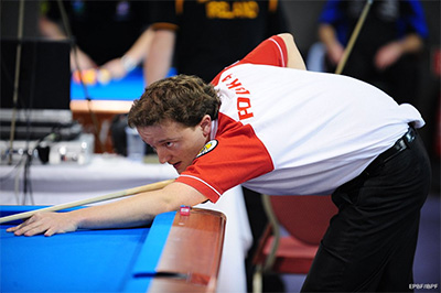 Der Pole Radoslaw Babica an der EM 2011 in Brandenburg im Pool Billard